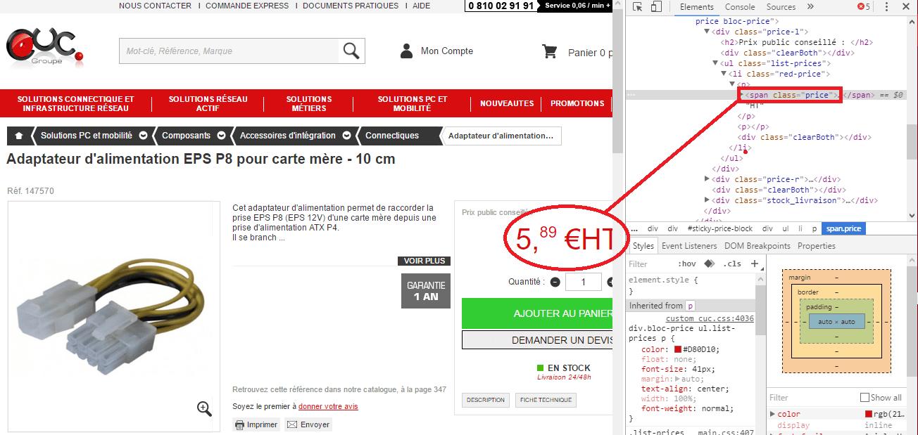 Extraire le prix