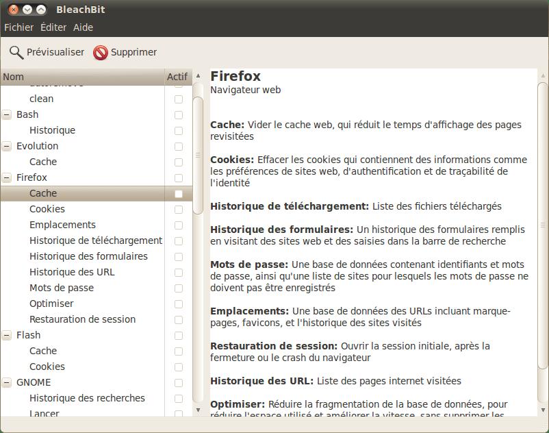 BleachBit - nettoyer linux avec un logiciel