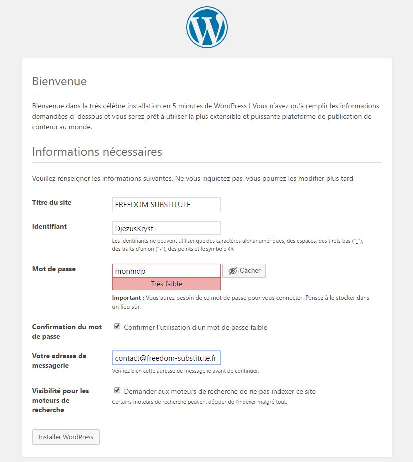 L'installation en 5 minutes de WordPress