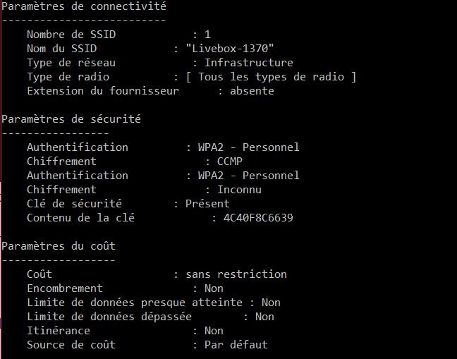 Décrypter une clé WiFi obtenue via netsh wlan