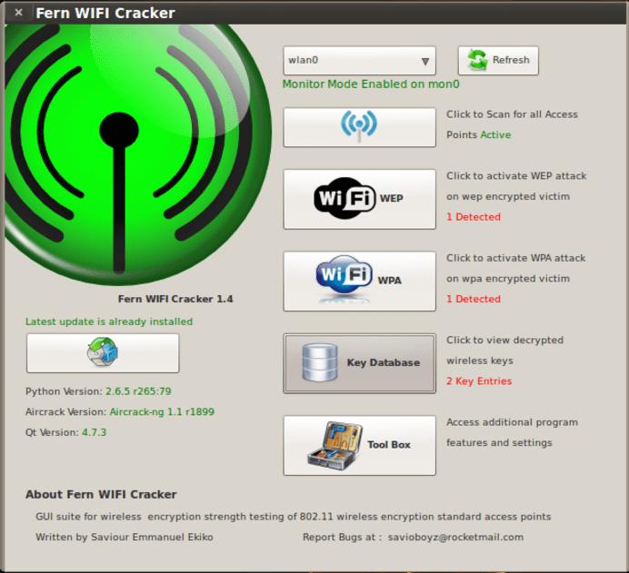 Interface de Fern WiFi Cracker