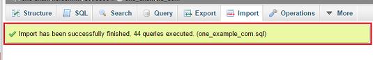 Succès import MySQL