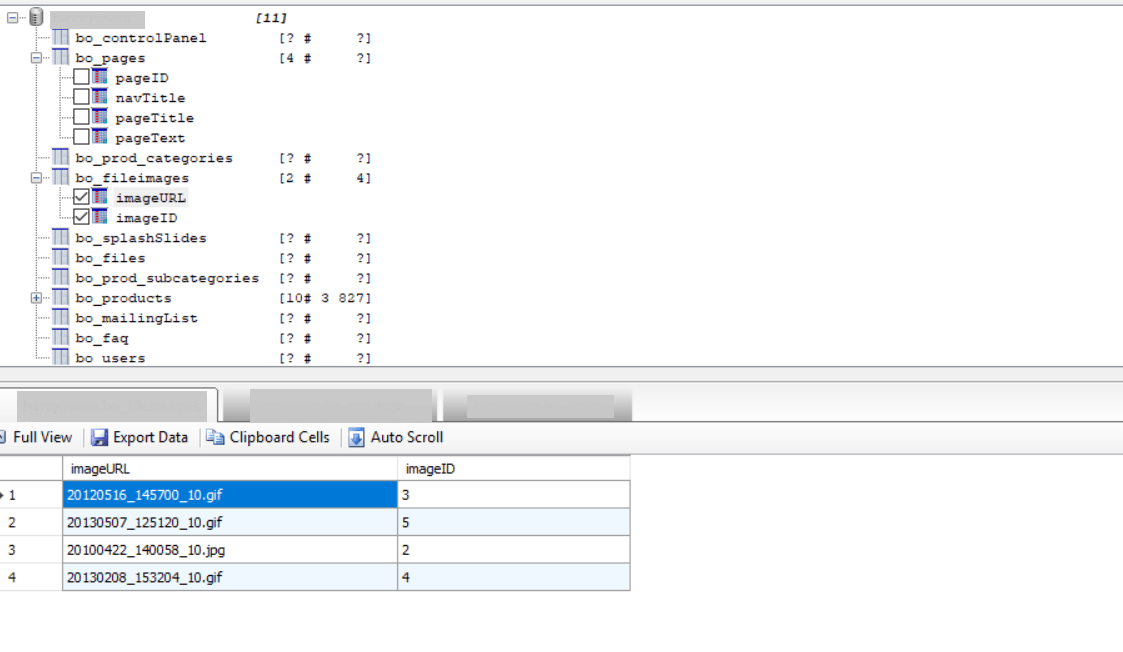 Visualiser la base de donnée des sites
