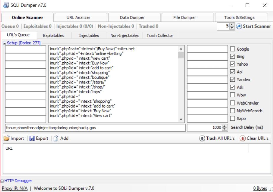 générer des dorks avec SQLi Dumper