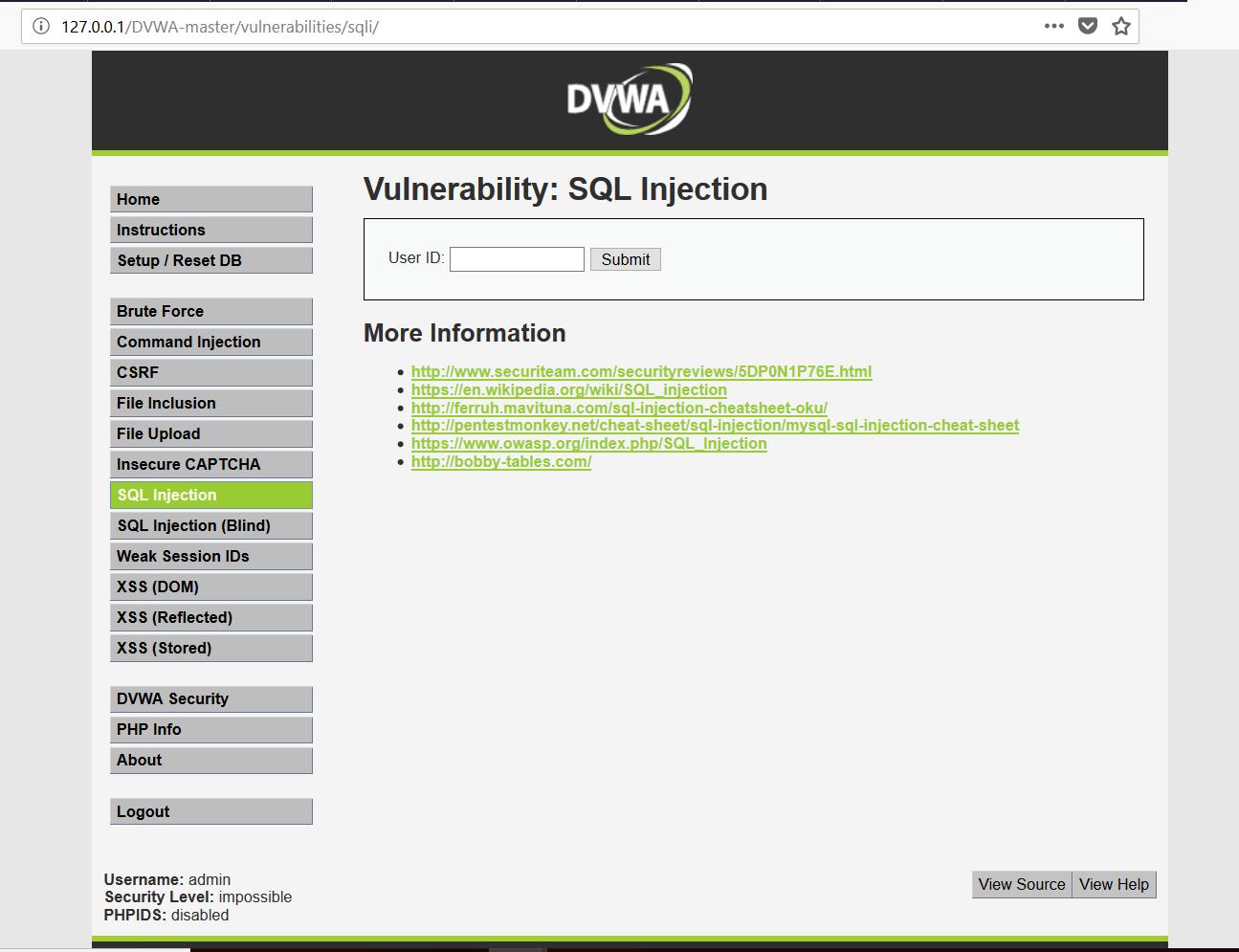 installer DVWA