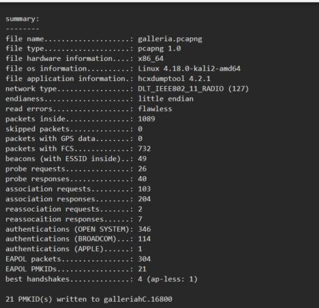 Utiliser Hxcpcaptool afin de convertir le fichier pour Hashcat