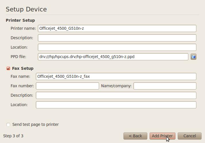 Configurer l'imprimante HP avec HPLIP